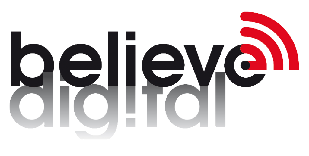 believe digital logo white