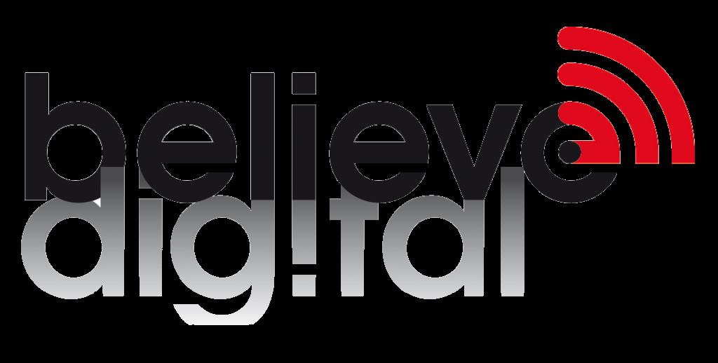 believe digital logo white